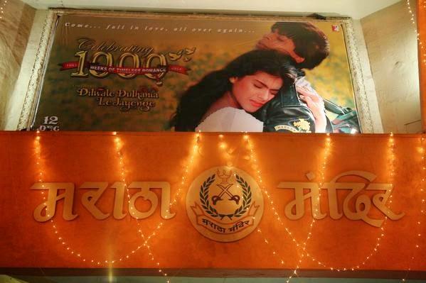 DDLJ aka Dilwale Dulhania Le Jayenge movie poster featuring Shahrukh Khan and Kajol at Maratha Mandir Theater
