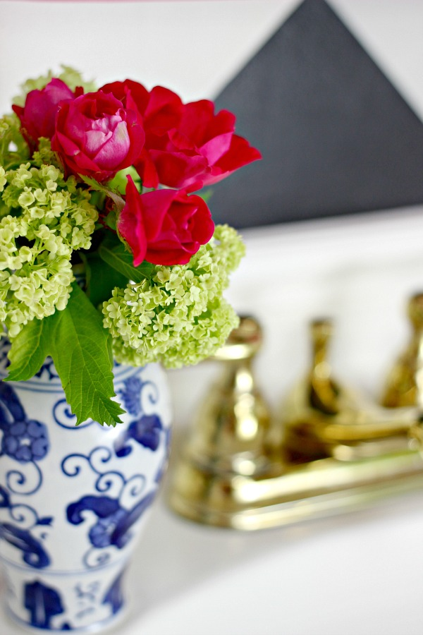 powder bath makeover, before and after, one room challenge, blue and white vase, viburnum