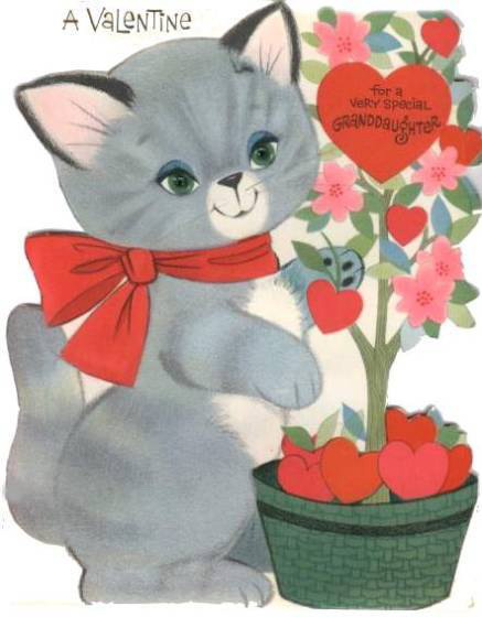 vintage cat and hearts valentines card