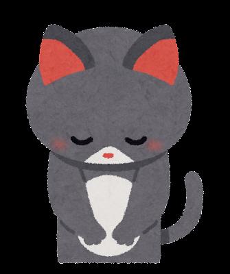 お辞儀をしている猫のイラスト