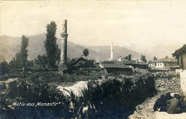 "Part of Bitola with view of Baba Mountain and Pelister 1916. Location - ""Bela Cheshma"" (White Fountain), near the intersection of streets Herzegovina and Blagojce Siljanovski."