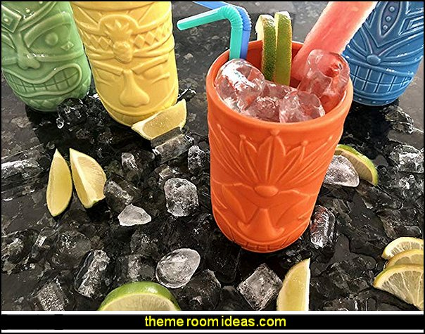 Ceramic Tiki Mug Party Tumbler Set  Tropical party decorations - tropical party ideas - ALOHA Hawaii Luau Party Decorations - Luau Hawaiian Grass Table Skirt raffia Decorations - Hula Hibiscus Tropical Birthday Summer Pool Party Supplies - tiki party pineapple party decorations - beach party - Birthday party  photo backdrop - tropical themed cake decorations - beach tiki themed table decorations -  party props - summer party