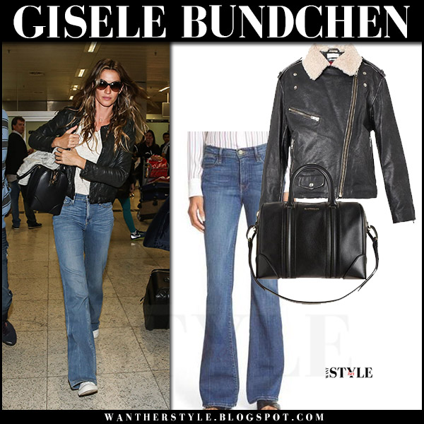 Gisele Bundchen in black leather jacket and flared jeans airport style august 15 2017