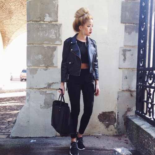 42 Back to School Outfits To Start The Year Off Right! black leather jacket crop top black pants