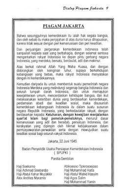 Piagam Jakarta atau Jakarta Charter merupakan sebuah teks tertulis yang berisi rumusan huk Isi Piagam Jakarta atau Jakarta Charter