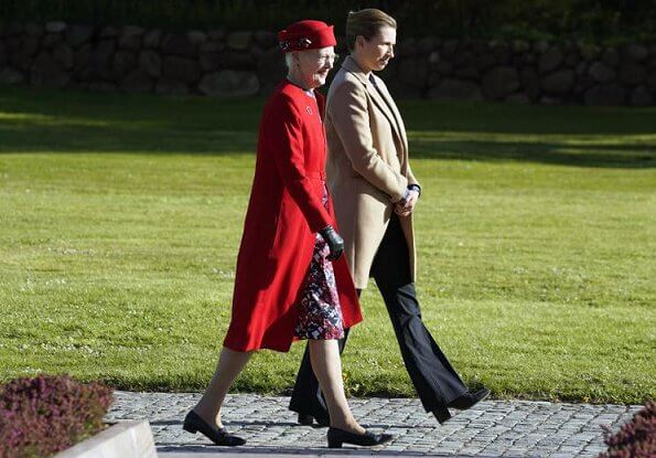 Queen Margrethe and Prime Minister Mette Frederiksen,Crown Princess Mary, Prince Frederik, Princess Marie and Joachim