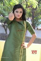 Akshitha cute beauty in Green Salwar at Satya Gang Movie Audio Success meet ~  Exclusive Galleries 026.jpg