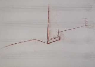 Shop corner 2. red chalk and graphite on paper