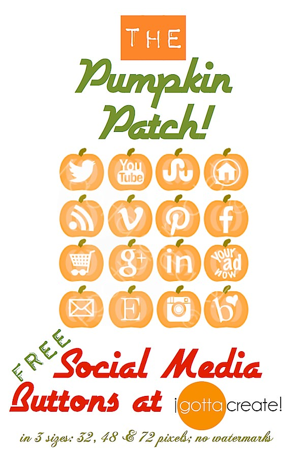 FREE social media #pumpkin icons! Spice up your blog or website. | download at I Gotta Create!