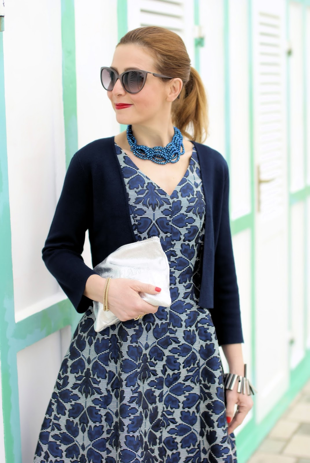 French chic style with 1.2.3 Paris: Fiona jacquard dress and Hevening bolero on Fashion and Cookies fashion blog, fashion blogger style