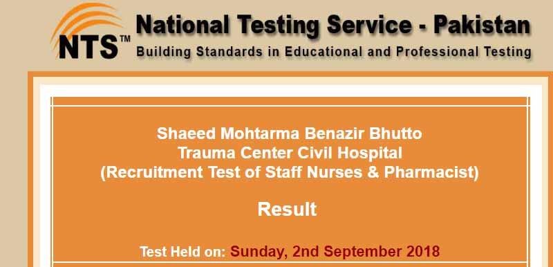 NTS Result of Shaeed Mohtarma Benazir Bhutto,Trauma Center Civil Hospital  Staff Nurses, Pharmacist