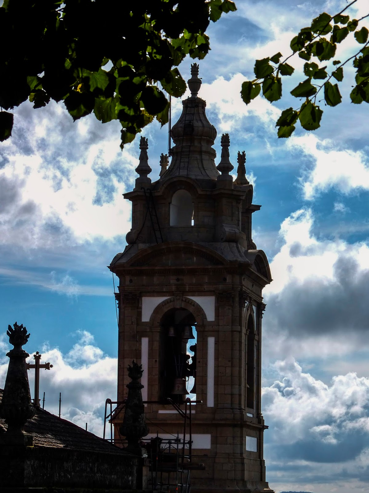 Church bell tower in the Sanctuary of Bom Jesus do Monte in the Tenões region in Portugal.