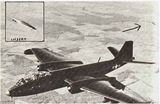 Photo taken in 1957 by test pilot near Edwards Air Force Base in California that shows the UFO followed the jet B-47.