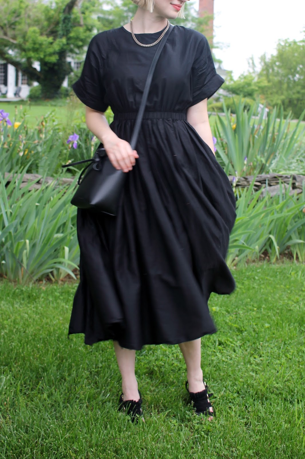 Black Crane Pleated Sundress