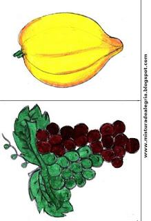 Desenho de pêssego e uva