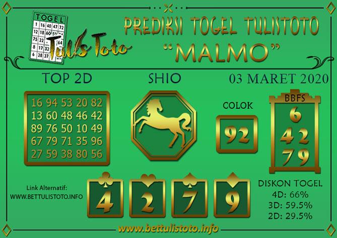 Prediksi Togel MALMO TULISTOTO 03 MARET 2020