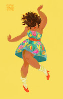 illustration by Simini Blocker: brown skinned girl dancing in sundress against yellow background