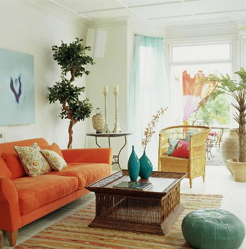 Teal And Orange Bohemian Living Room