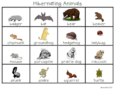 Hibernating Word List for writing and word play.  There is also a syllable sheet for sorting animals.
