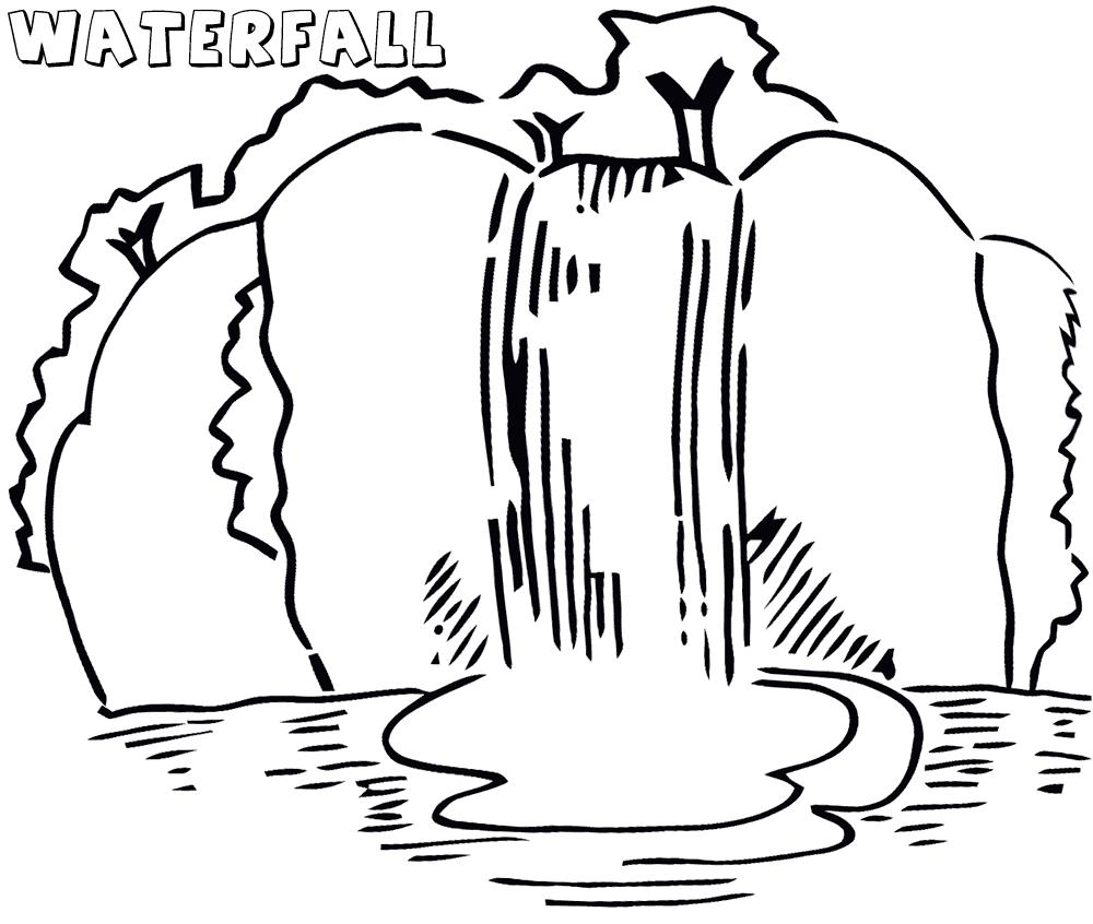 Sketsa Gambar Mewarnai Pemandangan Air Terjun Hitam Putih Terbaru
