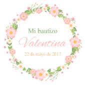 Oblea para tartas Bautizo flores rosas