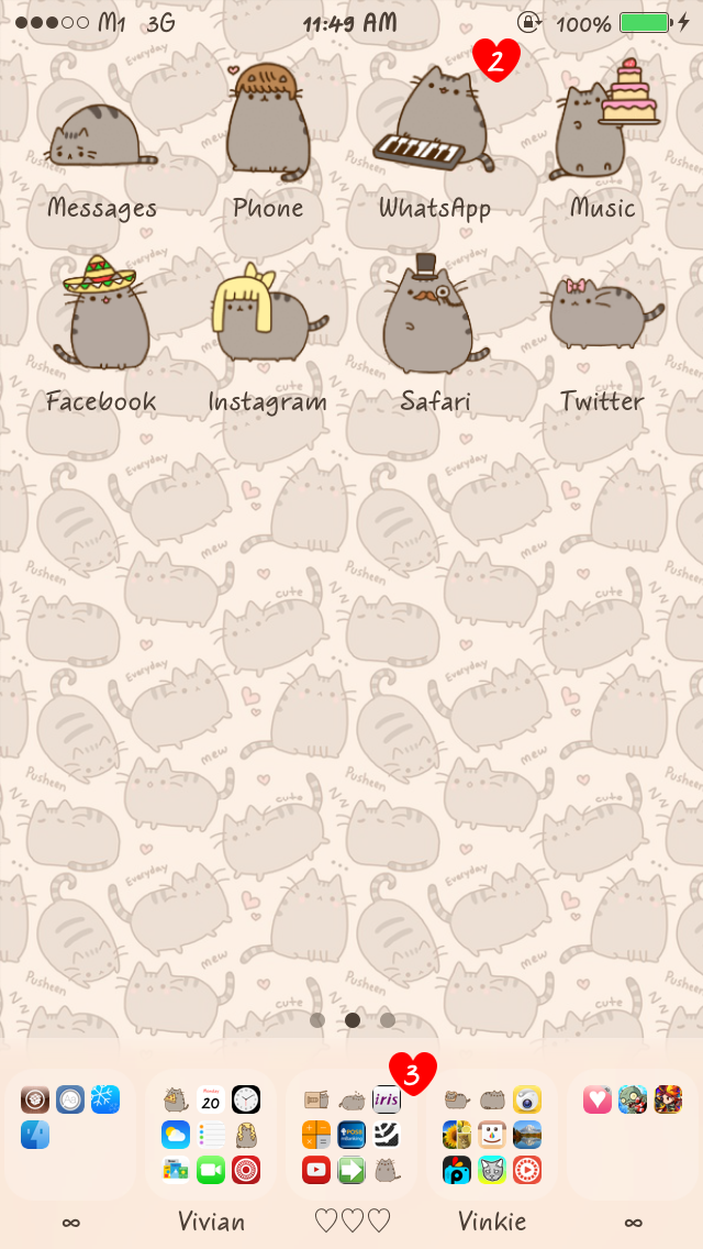 Cute iphone themes the pusheen cat - Pusheen ipad wallpaper ...