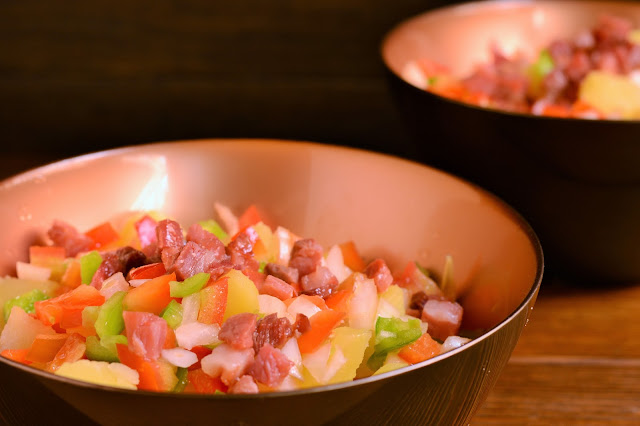 Ensalada de patatas con vinagreta y jamón