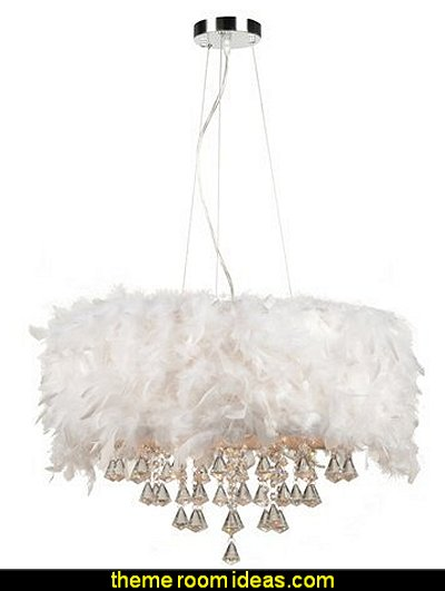 White Ostrich Feather Shade with Handcut Crystal