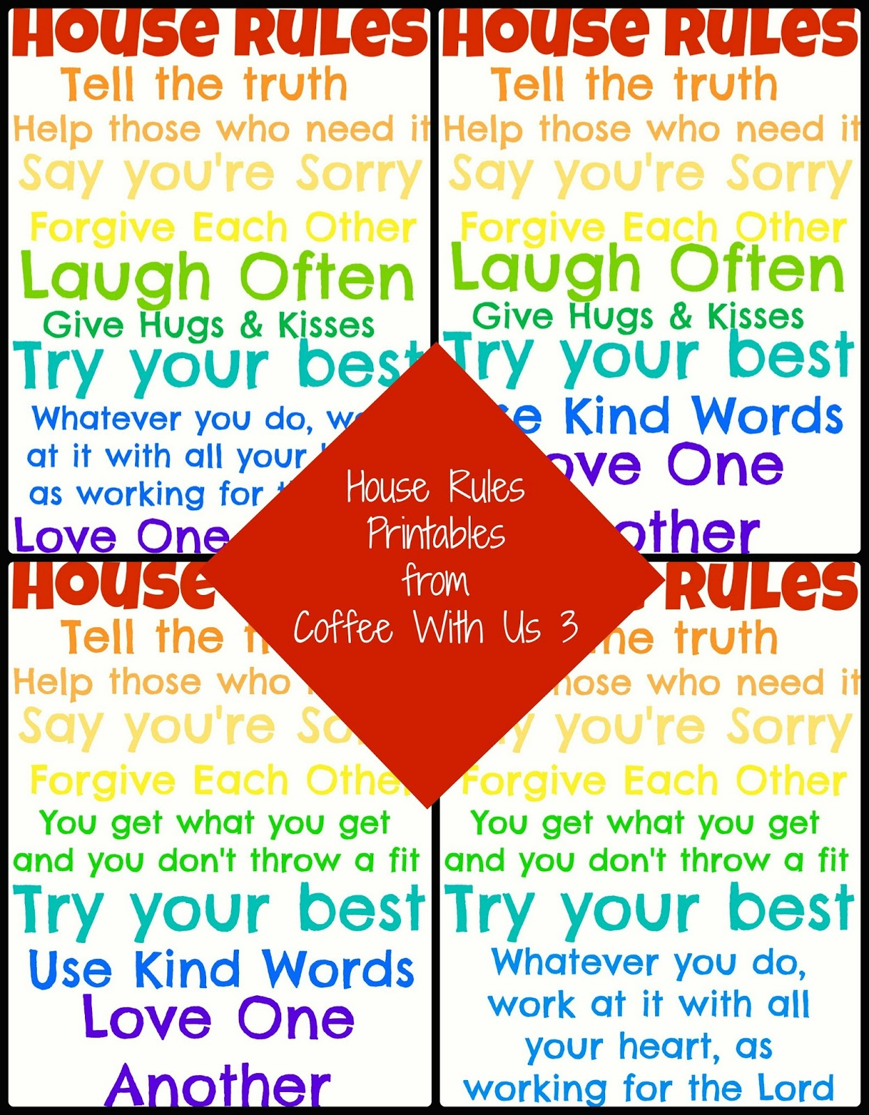 House Rules For Kids Printable That Are Ambitious