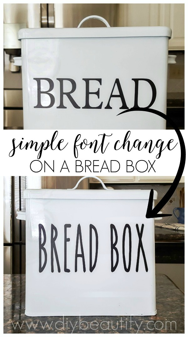 adding vinyl label to enamel bread box