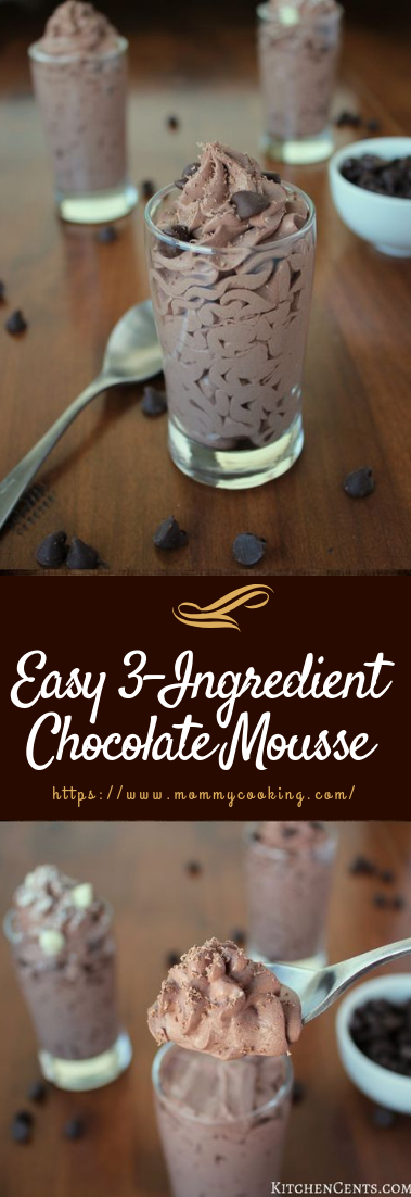 Easy 3-Ingredient Chocolate Mousse #desserts #3ingredient