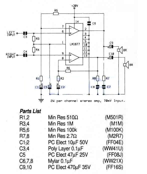 Simple 2 Watt Stereo Amplifier With Lm1877n
