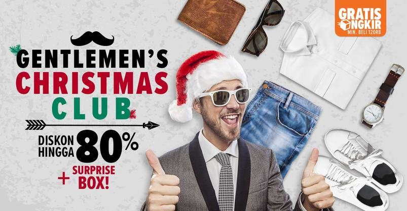 #Lazada - Promo Gentlemen's Christmas Club Diskon s.d 80% + Suprise BOX