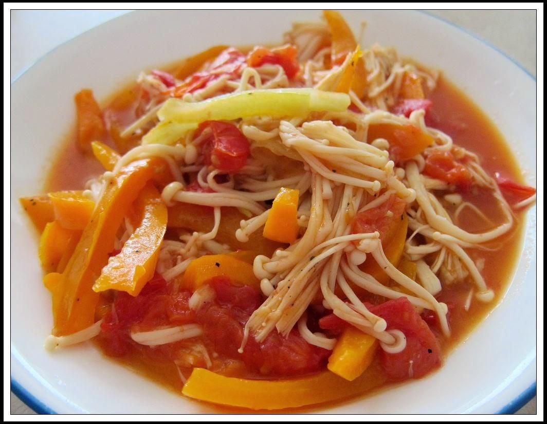 聰明爸媽料理俱樂部: 番茄甜椒炒金針菇