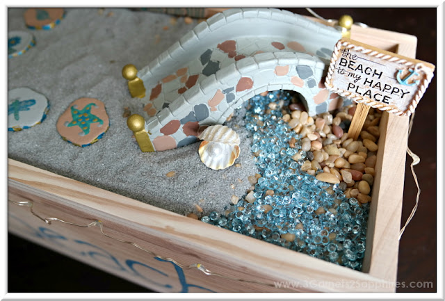 Beach Fairy Garden Painted Stepping Stones and Bridge  |  3 Garnets & 2 Sapphires