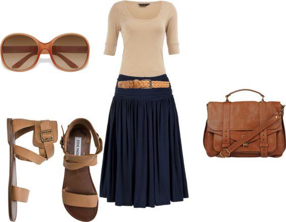 Синяя юбка - самые стильные комплекты этого лета