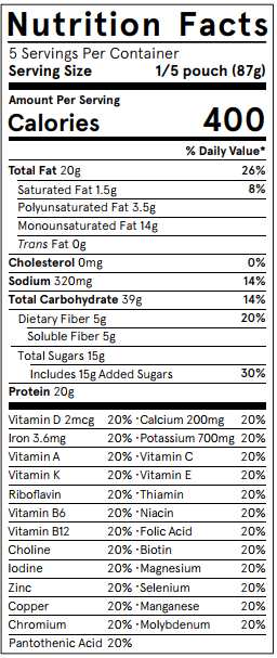 Nutritional value chart for Soylent Powder 1.8