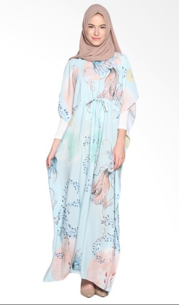 Ria Miranda Limia Dress Muslim - Print Jellyfish Mint Green