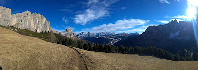 Views back toward Colfosco and Corvara with the Gruppo delle Cunturines.