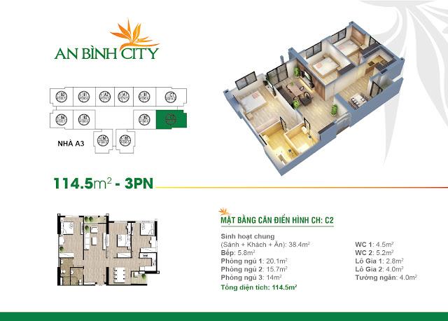 Thiết kế căn hộ 114m, 03 phòng ngủ, An Bình City