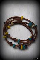 LoveLea's leather 4 wrap bracelet/2 wrap choker, wooden beads