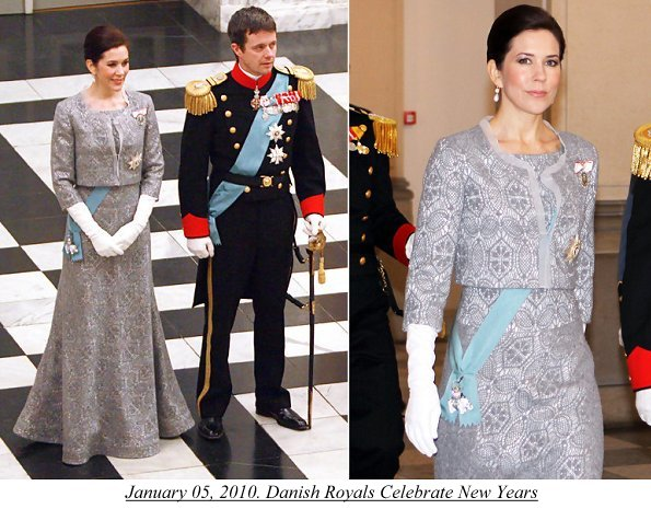 January 05, 2010. Danish Royals Celebrate New Years. Crown Princess Mary wore a top a skirt 2010