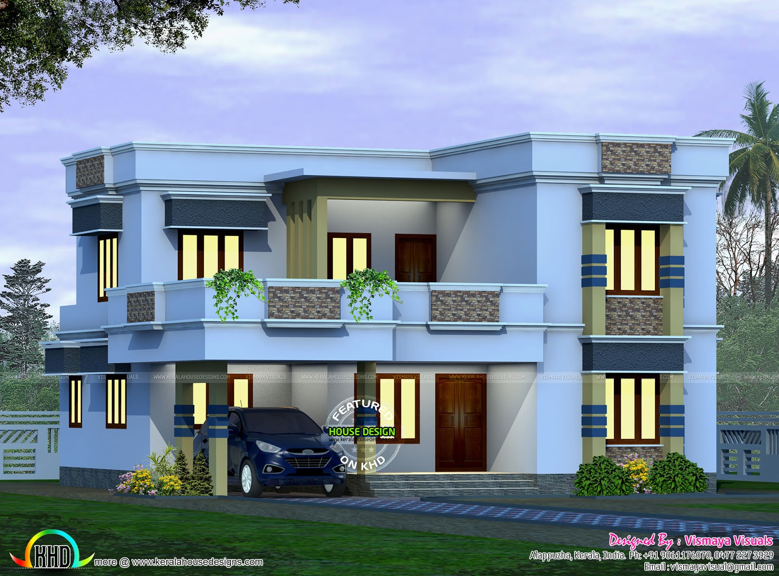 2045 square feet flat roof home kerala home design and for Square house design