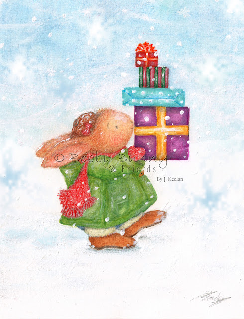 Bobby Bunny Presents & Snow Christams Illustration - Copyright Bobby Bunny & Friends - By Jennifer Keelan Illustration 2010