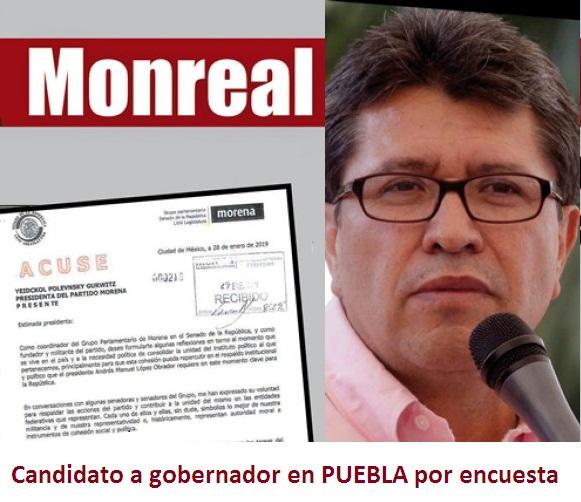 Monreal exige encuesta para elegir candidato en Puebla