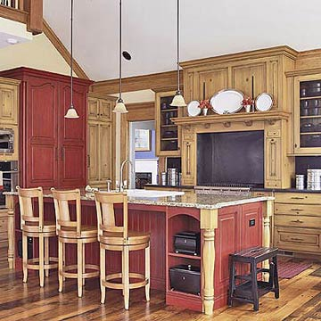 The Wall Color Creates A Strong Backdrop For Natural Maple Cabinetry Black Granite Countertops And Stainless Steel Liances Rustic Red Kitchen