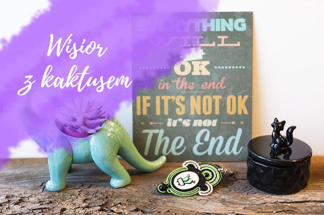 Wisior sutasz z kaboszonem z malowanym kaktusem