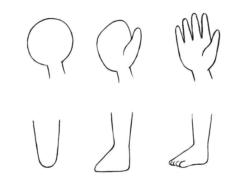 Dessiner le corps des chibis: différents styles de mains et de pieds