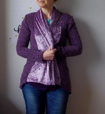 Lila Cardigan Mary  Schnittmuster für Frauen von Pattydoo  und Shirt Bethioua  Schnittmuster für Frauen von Ellepuls genäht von Basteltantes Nähkästchen