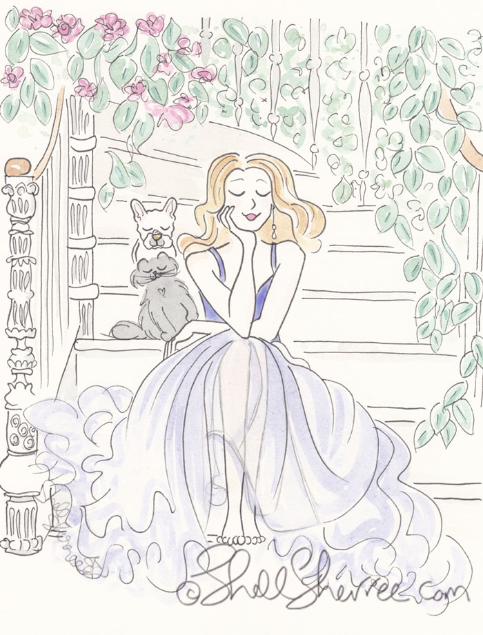 Fashion and Fluffballs Illustration:  Barefooted Garden Ball with French Bulldog and Cat © Shell Sherree